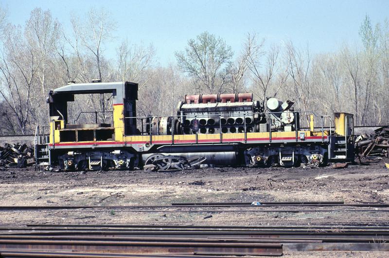 UP GP30B being scrapped at Durbano metals in Ogden, Utah. March 1986. (Warren Johnson Photo)