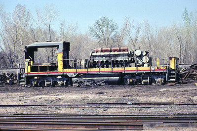 UP GP30B being scrapped at Durbano metals in Ogden, Utah. March 1986. (Warren Johnson Photo)