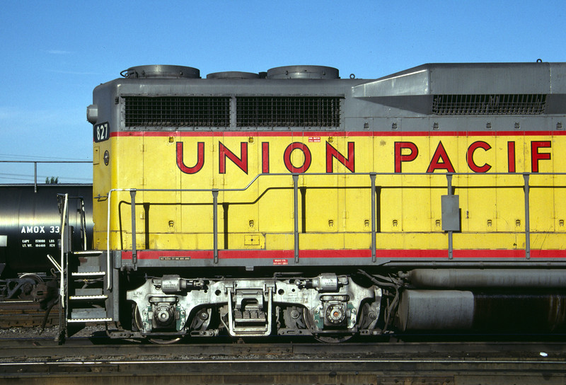 Side view of the rearward right side of UP GP30 827. Salt Lake City, July 1984. (Don Strack Photo)