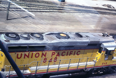 Top view of UP GP30 848, through the window of UP's south yard tower in Salt Lake City. May 1983. (Don Strack Photo)