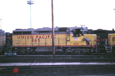 UP GP30 865. Wrecked in September 1983 and shown here in October 1983 just after the wreck. Salt Lake City. (Don Strack Photo)