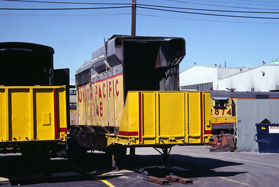 The hood of a GP30B on a flat bed trailer for movement around UP's Salt Lake shops. September 1983. (Don Strack Photo)