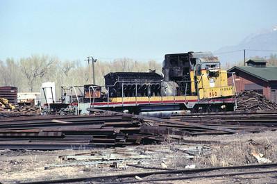 UP GP30 860 being scrapped at Durbano metals, Ogden, Utah; March 1986 (Warren Johnson Photo)