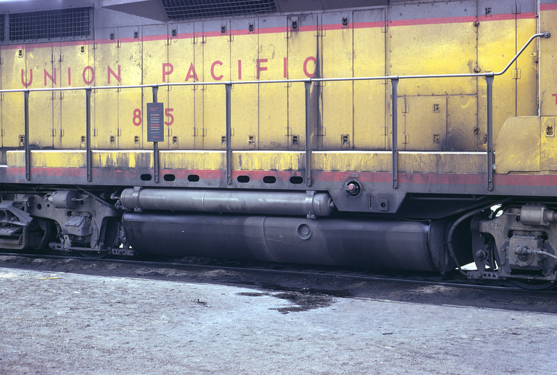 A view of the right middle side of UP 875, the former EMD GP30 demonstrator. Note the holes in the frame side sill. This is the only GP30 with this feature. Salt Lake City, April 1973. (Don Strack Photo)