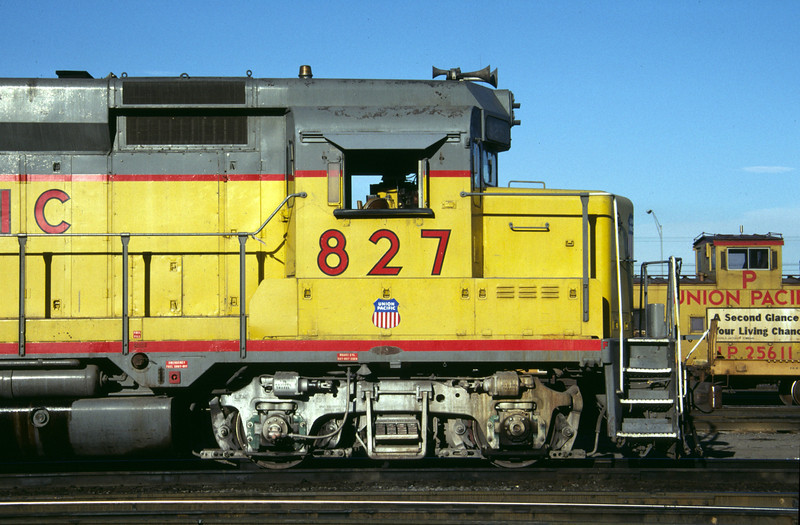 Front side view of the middle right side of UP GP30 827. Salt Lake City, July 1984. (Don Strack Photo)