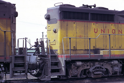 A view of the rear of the right side of UP 875, the former EMD GP30 demonstrator. Note the use of GP9 style classification lights. Salt Lake City, April 1973. (Don Strack Photo)