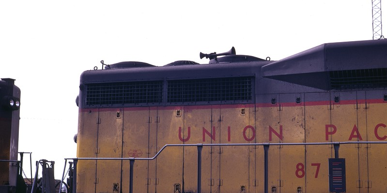 A view of the right side radiator area on UP 875, the former EMD GP30 demonstrator. Salt Lake City, April 1973. (Don Strack Photo)