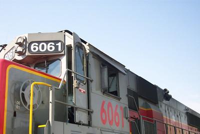 Utah Railway SD50S 6061, cab roof heat shield. (Don Strack Photo)