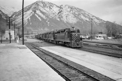D&RGW 3002 passing through Provo. November 26, 1964. (Marvin Black Photo)