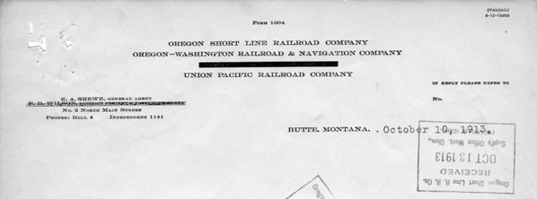 It's hard to tell, even on the original, but based on the print date of June 1912, and the letter's date of October 1913, it is the Southern Pacific name that has been blanked out.