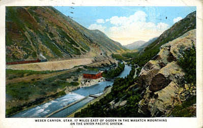 Union Pacific in Weber Canyon (postmarked 1926)