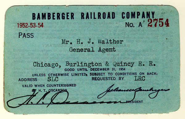 Bamberger Railroad 1952, 1953, 1954