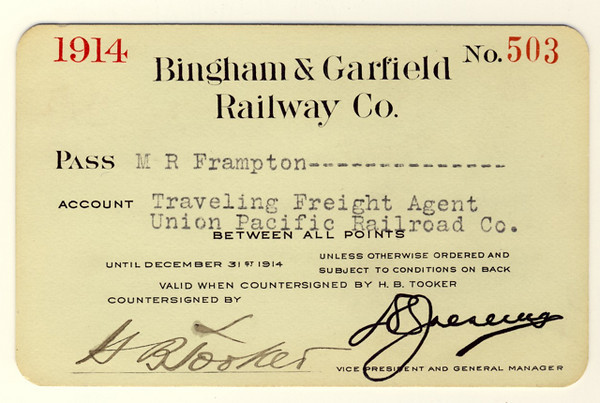 Bingham & Garfield Railway 1914