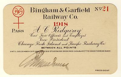 Bingham & Garfield Railway 1918