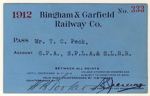Bingham & Garfield Railway 1912