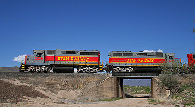 Utah Railway crosses the abandoned UP line. (James Belmont Photo)