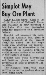 1946-04-02_Simplot-to-buy-Kalunite_Idaho-Falls-Post-Register