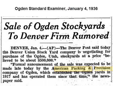 Ogden Union Stockyards Newspapers