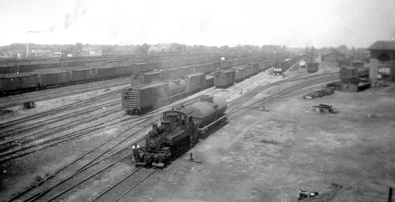 SPMW 0-6-2T 571 in service at SP's Ogden roundhouse. It was in service in Ogden from 1916 to 1947. Gordon Cardall photo, 1940s (116-size negative)