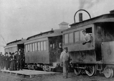 steam dummy engine pulling this train on the Great Salt Lake & H