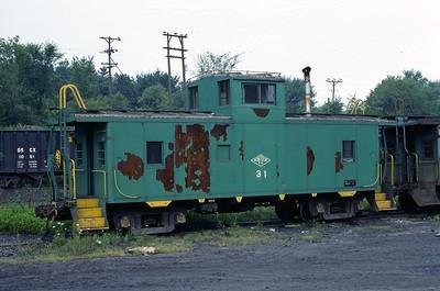 Montour Railroad no. 31 at Champion, Pennsylvania. July 1977. (Jim Aldridge Photo)