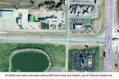 UP 25328 near Cabela's in Sidney, Nebraska. (Google)