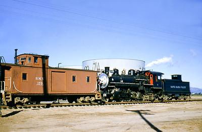 LA&SL wooden caboose 3117, in service as Santa Maria Valley no. 170. October 1955.