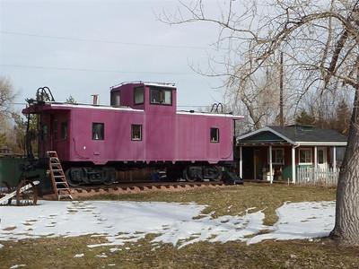 UP caboose displayed on McSorley Lane in Boulder, Colorado. February 2010.