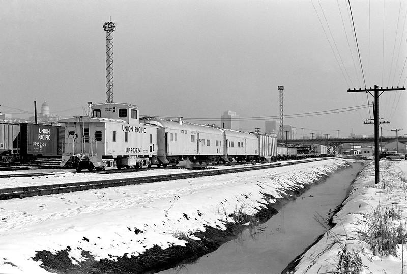UP (OSL) Salt Lake City Derrick Train, February 7, 1976. (James Belmont Photo)