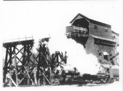 Wooden coal chute at Echo, Utah, before it burned in January 1941.