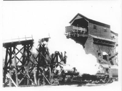 Wooden coal chute at Echo, Utah, before it burned in January 1941.