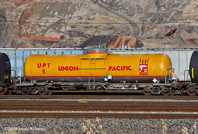 Diesel fuel tender UPT 5 at Salt Lake City. January 1, 2009. (James Belmont Photo)