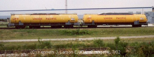 UPT 1 and UPT 2 at EMD in La Grange, Illinois. July 2002. (Ken Larson Photo)