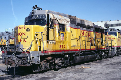 UP GP30 872. Wrecked in March 1985 near Salt Lake City. Shown here in April 1985 at UP's Salt Lake City shops. (Warren Johnson Photo)