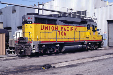 A view of UP GP30 706, from the rear. Salt Lake City, April 1983. (Don Strack Photo)