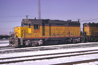 UP GP30 825, freshly painted with the then-new We Can Handle It slogan and borderless lettering. Salt Lake City, January 1974. (Don Strack Photo)