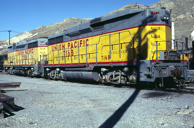UP GP30Bs 716B and 731B. Salt Lake City, November 1983. (Warren Johnson Photo)