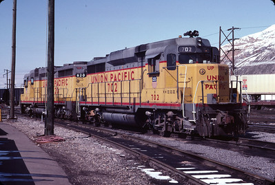 UP GP30 702 and 820. Salt Lake City, March 1983. (Don Strack Photo)