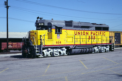 UP GP30 808, showing the extended numberboard box intended for use by crews, following the removal of cabooses in late 1984. Salt Lake City, June 1983. (Don Strack Photo)