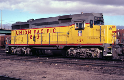 UP GP30 833. Note the engineer's bay window for switch service. Laramie, Wyo., October 1979. (Jeff Prince Photo)