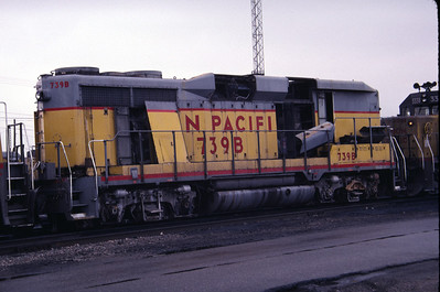 UP GP30B 739B, equipped with steam generator. Salt Lake City, December 1983. (Don Strack Photo)