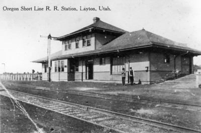 OSL Layton depot. View is almost due north from the depot site just south of Gentile Street. The fenced area to the left is today's Veteran's Park.