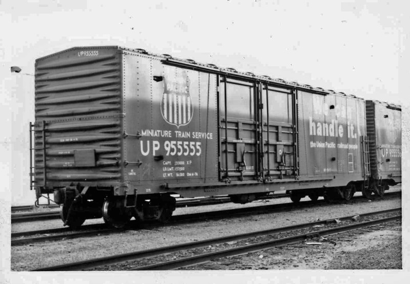 UP 955555 Also 955556 Rebuilt 9-70 BF-70-7 Vernon, Ca  2-1-77 Minature Train Service Assigned UP Stores Dept
