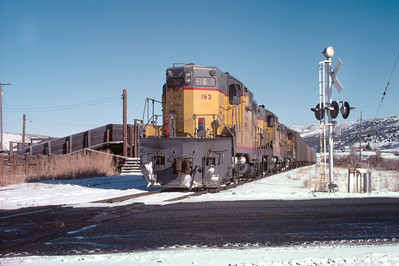 UP Park City Local passing through Wanship, Utah. January 1976. (Norm Priebe Photo)