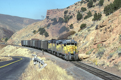 GP30s on the Park City Local, passing Echo Dam. October 1985. (Blair Kooistra Photo)