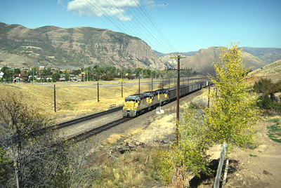 GP30s on the Park City Local, on the mainline at Henefer. September 1985. (Don Strack Photo)