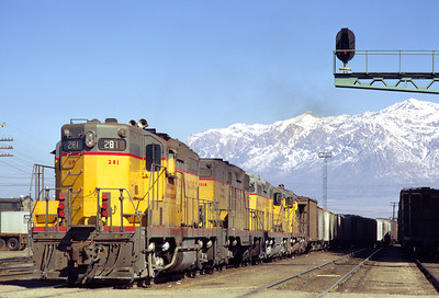 UP GP9 281 on the Park City Local, about to depart Ogden. October 1971. (Keith Ardinger Photo)