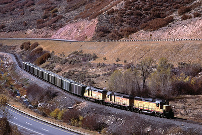GP30s on the Park City Local, in Silver Creek Canyon. October 1985. (Blair Kooistra Photo)