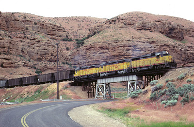 GP30s on the Park City Local, crossing the highway bridge at Echo. July 1983. (Don Strack Photo)