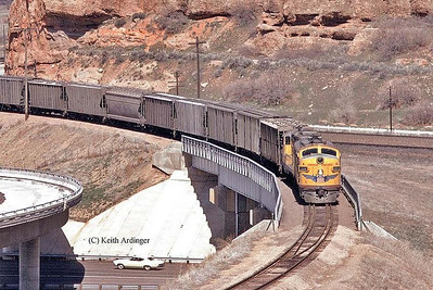 UP Park City Local passing over the I-80 bridge. May 1971. (Keith Ardinger Photo)